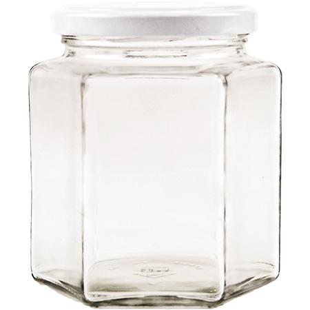 Vorratsglas 6-Kantform mit Schraubdeckel weiss - 390ml