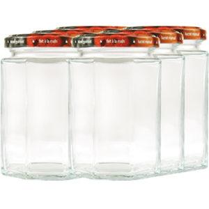 Vorratsglas 8-Kantform mit Schraubdeckel Obstdekor - 270ml
