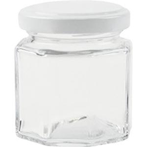 Vorratsglas 8-Kantform mit Schraubdeckel weiss - 100 ml