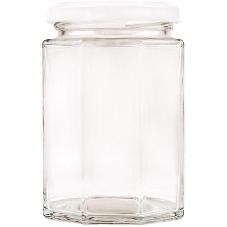 Vorratsglas 8-Kantform mit Schraubdeckel weiss - 270ml